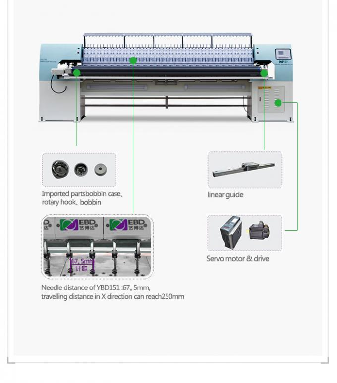 Energy Saving Industrialized Computerized Quilting Embroidery Machine Needle Type 9#~16#