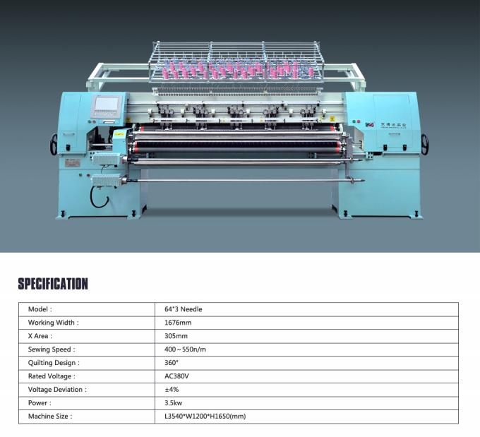 Durable Computerized Chain Stitch Multi Needle Quilting Machine With Simulation Display
