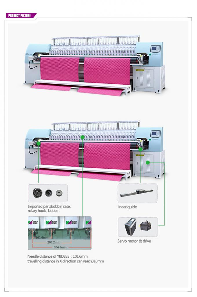 Tricolor Computerized Embroidery Machine , Automatic Quilting Machine Easy Operation